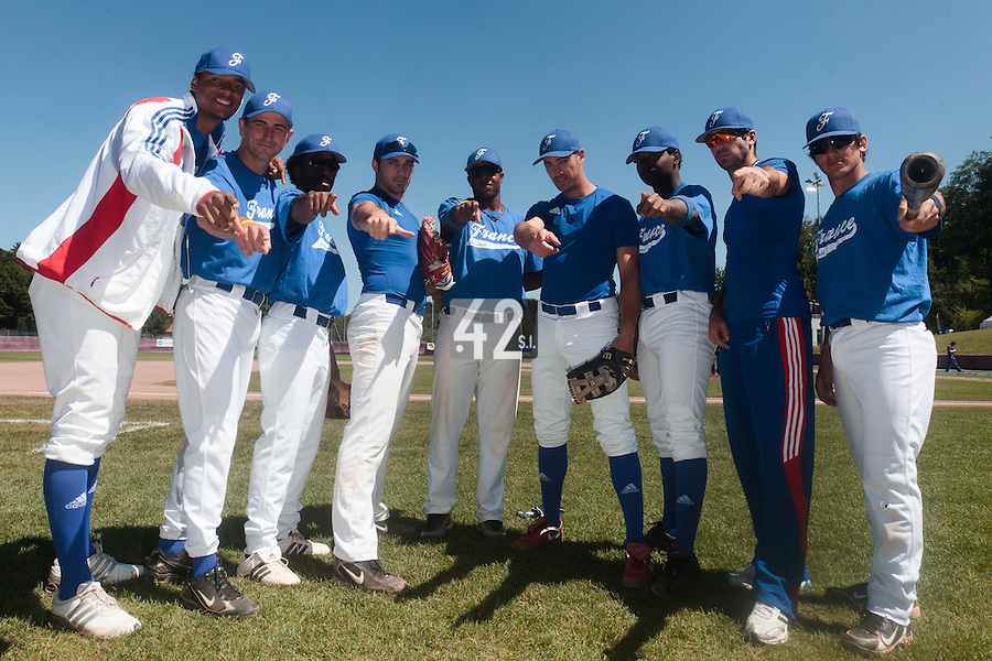 31 July 2010: Harold Castillo, Robin Allemand, Felix Brown, Gaspard Fessy, Omar Williams, Jerome Rousseau, Jean Antonio Samer, Pierrick Le Mestre, Maxime Lefevre, pose prior to Greece 14-5 win over France, at the 2010 European Championship, in Heidenheim, Germany.