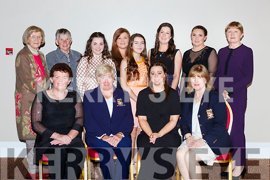 Killarney Golf Club team that won  the All Ireland final at the Kerry Sports Stars awards in the INEC on Friday night <br /> front row l-r: Mary Sheehy, Sheila Crowley Captain 2018, Amy Arthur, Captain 2017, Breda Duggan President 2017, Back row: Claire Courtney, Mary Geaney Team Manager, Mairead Martin, Kelly Brotherton, Corrina Griffin, Eimear O'Donnell, Deirdre Prendergast and Joan Fleming