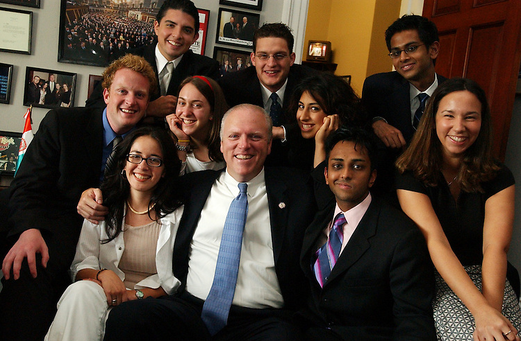 Interns in the office of Rep. Joe Crowley, D-N.Y.  .Frist row from left: Marcela Alvarez, Rep. Joe Crowley, Roshan Patel, Jennifer Rosenstock.Second row from left: Connor Gadd, Dvora Wilensky, Hermon Raju (dark haired girl).Third row from left:  Jason Ojeda, Jonathan Misk, Sharan Patel