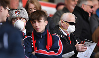 29t29th February 2020; Vitality Stadium, Bournemouth, Dorset, England; English Premier League Football, Bournemouth Athletic versus Chelsea; A fan with a face mask as concern over Coronavirus reaches Bournemouth