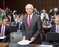 "United States Attorney General Jeff Sessions arrives to give testimony before the US Senate Select Committee on Intelligence to  ""examine certain intelligence matters relating to the 2016 United States election"" on Capitol Hill in Washington, DC on Tuesday, June 13, 2017.  In his prepared statement Attorney General Sessions said it was an ""appalling and detestable lie"" to accuse him of colluding with the Russians. Photo Credit: Ron Sachs/CNP/AdMedia"
