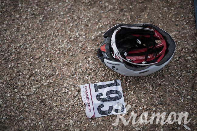 Fabio Felline's (ITA/Trek-Segafredo) helmet & race number after the race<br /> <br /> 11th Strade Bianche 2017