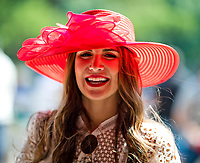 ELMONT, NY - JUNE 10: A woman wears a fancy pink hat on Belmont Stakes Day at Belmont Park on June 10, 2017 in Elmont, New York (Photo by Scott Serio/Eclipse Sportswire/Getty Images)