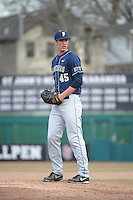 Pittsburgh Panthers pitcher Jonathan Danielczyk (45) during game against the St. John's Redstorm at Jack Kaiser Stadium on March 22, 2013 in Queens, New York.  Pittsburgh defeated St. John's 12-9.  (Tomasso DeRosa/Four Seam Images)