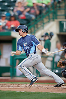 West Michigan Whitecaps catcher Brady Policelli (6) follows through on a swing during a game against the Fort Wayne TinCaps on May 17, 2018 at Parkview Field in Fort Wayne, Indiana.  Fort Wayne defeated West Michigan 7-3.  (Mike Janes/Four Seam Images)
