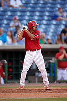 Clearwater Threshers first baseman Damek Tomscha (21) at bat during a game against the Palm Beach Cardinals on April 14, 2017 at Spectrum Field in Clearwater, Florida.  Clearwater defeated Palm Beach 6-2.  (Mike Janes/Four Seam Images)