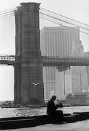 New York City, October 1975. Brooklyn Bridge. Economic depression in NYC.