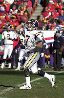 San Diego Chargers quarterback Doug Flutie throws a pass during the game against the Chiefs at Arrowhead Stadium in Kansas City, Missouri on December 23, 2001.