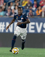 FOXBOROUGH, MA - AUGUST 31: Luis Caicedo #27 of New England Revolution looks to pass during a game between Toronto FC and New England Revolution at Gillette Stadium on August 31, 2019 in Foxborough, Massachusetts.