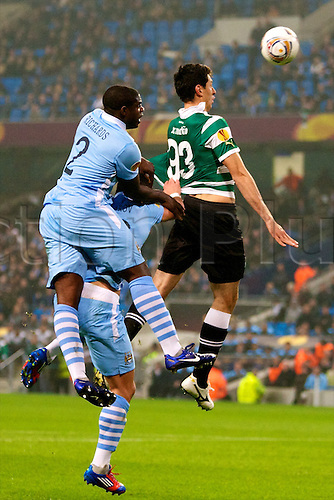 15.03.2012 Manchester, England. Manchester City's English defender Micah Richards in action during the UEFA Europa Cup match between Manchester City v Sporting at the Etihad Stadium. City won the game 3-2 on the night but lost out to away goals on aggregate and crashed out of the tournament.