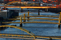 The Fort Duquesne, sister bridges, and Veterans Bridge are shown at sunset on Sunday March 29, 2020 in Pittsburgh, Pennsylvania. (Photo by Jared Wickerham/Pittsburgh City Paper)