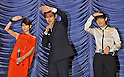 "Yoko Maki, Atsuro Watabe and Machiko Ono, Jun 02, 2012 : Atsuro Watabe,Yoko Maki, Machiko Ono, June 2, 2012, Tokyo, Japan :(L-R) Actos Yoko Maki, Atsuro Watabe and Machiko Ono attend a stage greeting during the opening day for the film ""Gaiji Keisatsu"" in Tokyo, Japan, on June 2, 2012."