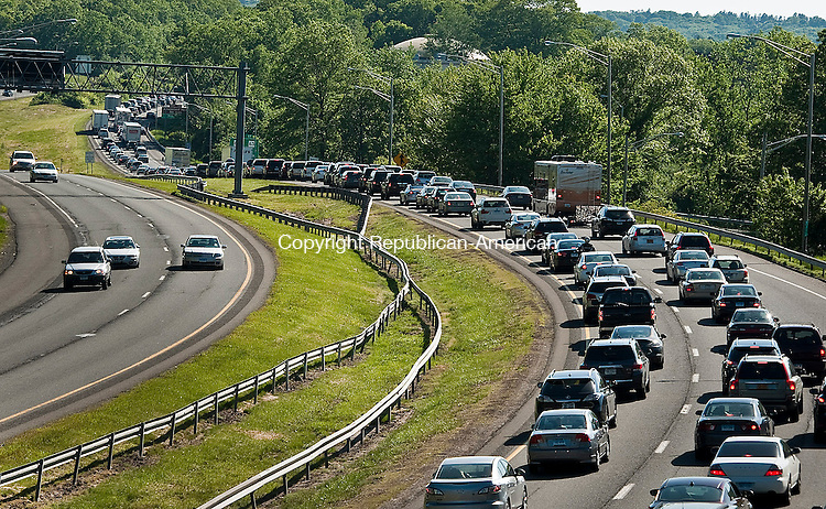 WATERBURY, CT 27 MAY 2013--052713JS21- Traffic of I-84 west bound through Waterbury was backed up for miles on Monday afternoon following a one car accident on the highway west of Exit 17..Jim Shannon Republican American