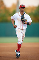 Florida Fire Frogs center fielder Ray-Patrick Didder (11) jogs to the dugout during a game against the Daytona Tortugas on April 6, 2017 at Osceola County Stadium in Kissimmee, Florida.  Daytona defeated Florida 3-1.  (Mike Janes/Four Seam Images)