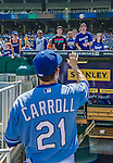 25 August 2013: Kansas City Royals utilityman Jamey Carroll signs autographs prior to a game against the Washington Nationals at Kauffman Stadium in Kansas City, MO. The Royals defeated the Nationals 6-4, to take the final game of their 3-game inter-league series. Mandatory Credit: Ed Wolfstein Photo *** RAW (NEF) Image File Available ***