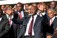 Independent Electoral and Boundaries Commission (IEBC) declared Uhuru Kenyatta as the winner of the presidential contest on 9 March 3013, after the failure of the electronic results transmission system delayed the process. Kenyatta addresses the crowd of assembled supporters at Jubilee headquarters at Catholic University in Nairobi. .JENNIFER HUXTA / AGENCE FRANCE PRESSE/ GETTY IMAGES