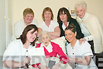 Happy birthday: Mary Collins from Athea turns 103 this Saturday. Celebrations began this week for the former teacher at her residence in Oaklands Nursing Home in Listowel. Mary is pictured here with front l-r Maryanne McElligott and Ciara Cahill. Back l-r Liz Dalton, Bridie Noonan, Mary O'Donoghue and Teresa Roche.