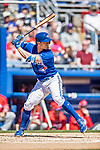 6 March 2019: Toronto Blue Jays outfielder Randal Grichuk at bat during a Spring Training game against the Philadelphia Phillies at Dunedin Stadium in Dunedin, Florida. The Blue Jays defeated the Phillies 9-7 in Grapefruit League play. Mandatory Credit: Ed Wolfstein Photo *** RAW (NEF) Image File Available ***