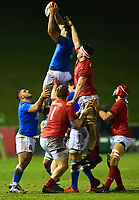 Italy U20's Edoardo Iachizzi wins the ball<br /> <br /> Photographer Richard Martin-Roberts/CameraSport<br /> <br /> Six Nations U20 Championship Round 4 - Wales U20s v Italy U20s - Friday 9th March 2018 - Parc Eirias, Colwyn Bay, North Wales<br /> <br /> World Copyright &not;&copy; 2018 CameraSport. All rights reserved. 43 Linden Ave. Countesthorpe. Leicester. England. LE8 5PG - Tel: +44 (0) 116 277 4147 - admin@camerasport.com - www.camerasport.com