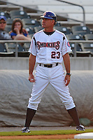 Ryne Sandberg coaches third base at Smokies Park in Sevierville, TN May 21, 2009 (Photo by Tony Farlow/ Four Seam Images)