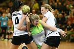 v. li. im Zweikampf &nbsp;Matilda Atanasoska (Vulkan-Ladies Koblenz/Weibern), Seline Ineichen (Frisch Auf Goeppingen Frauen) mit Ball und Lotte Prak (Vulkan-Ladies Koblenz/Weibern)<br />  im Spiel TPSG FA Goeppingen - VL Koblenz / Weibern.<br /> <br /> Foto &copy; P-I-X.org *** Foto ist honorarpflichtig! *** Auf Anfrage in hoeherer Qualitaet/Aufloesung. Belegexemplar erbeten. Veroeffentlichung ausschliesslich fuer journalistisch-publizistische Zwecke. For editorial use only.