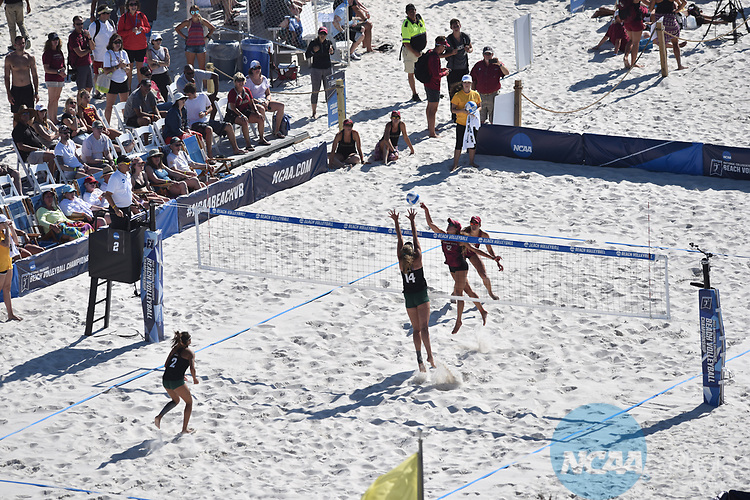 GULF SHORES, AL - MAY 06: The University of Hawaii takes on Florida State University during the Division I Women's Beach Volleyball Championship held at Gulf Place on May 6, 2017 in Gulf Shores, Alabama. (Photo by Stephen Nowland/NCAA Photos via Getty Images)