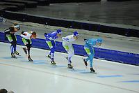 SCHAATSEN: HEERENVEEN: 25-10-2014, IJsstadion Thialf, Marathonschaatsen, KPN Marathon Cup 2, Sjaak Schipper (#56), Sam Boon (#12), Evert Hoolwerf (#21), Mats Stoltenborg (#44), Bob de Vries (#1), ©foto Martin de Jong