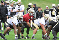 Wednesday, July 27, 2016: New Orleans Saints quarterback Garrett Grayson (18) waits for the snap of the ball at a joint training camp practice between New England Patriots and  the New Orleans Saints  training camp held Gillette Stadium in Foxborough Massachusetts. Eric Canha/CSM