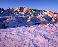 Drifted snow and bad lands, Badlands National Park, South Dakota