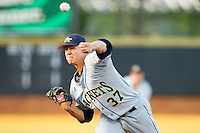 Starting pitcher Jeb Bradley #37 of the Georgia Tech Yellow Jackets delivers a pitch to the plate against the Wake Forest Demon Deacons at Gene Hooks Field on April 16, 2011 in Winston-Salem, North Carolina.  Photo by Brian Westerholt / Four Seam Images