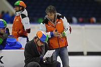 SCHAATSEN: HEERENVEEN: 31-10-2013, IJsstadion Thialf, Shorttracktraining, Freek van der Wart, Jeroen Otter (trainer/coach), ©foto Martin de Jong