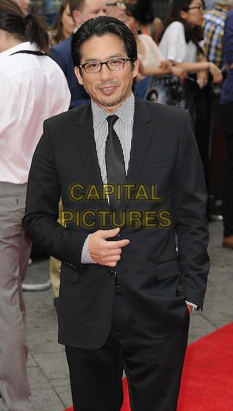 Hiroyuki Sanada<br /> &quot;The Wolverine&quot; UK Premiere, Empire Leicester Square, London, England.<br /> 16th July 2013<br /> half length suit white glasses stubble facial hair black shirt<br /> CAP/CAN<br /> &copy;Can Nguyen/Capital Pictures