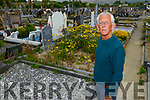 Cllr Sam Locke in Rath Graveyard highlighting the overgrown conditions of the graveyard on Saturday.