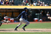 OAKLAND, CA - JULY 19:  Mallex Smith #0 of the Tampa Bay Rays bats against the Oakland Athletics during the game at the Oakland Coliseum on Wednesday, July 19, 2017 in Oakland, California. (Photo by Brad Mangin)
