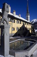 Europe/Suisse/Engadine/Susch: Détail maison Planta