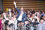 Danny Healy Rae celebrates with his supporters after he topped the poll in the Killlarney Electoral area on Saturday night
