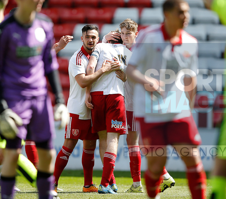 Ben Whiteman of Sheffield Utd  is mobbed after equalising during the PDL U21 Final at Bramall Lane Sheffield. Photo credit should read: Simon Bellis/Sportimage
