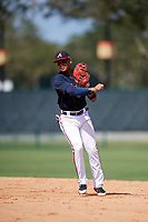 Atlanta Braves second baseman Derian Cruz (4) throws to first base during an Instructional League game against the Detroit Tigers on October 10, 2017 at the ESPN Wide World of Sports Complex in Orlando, Florida.  (Mike Janes/Four Seam Images)