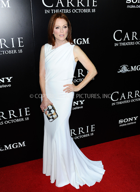 WWW.ACEPIXS.COM<br /> <br /> October 7 2013, LA<br /> <br /> Actress Julianne Moore arrives at the premiere of  'Carrie' at ArcLight Cinemas on October 7, 2013 in Hollywood, California.<br /> <br /> By Line: Peter West/ACE Pictures<br /> <br /> <br /> ACE Pictures, Inc.<br /> tel: 646 769 0430<br /> Email: info@acepixs.com<br /> www.acepixs.com