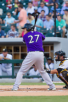 Steve Selsky (27) of the Louisville Bats at bat against the Charlotte Knights at BB&T Ballpark on June 26, 2014 in Charlotte, North Carolina.  The Bats defeated the Knights 6-4.  (Brian Westerholt/Four Seam Images)