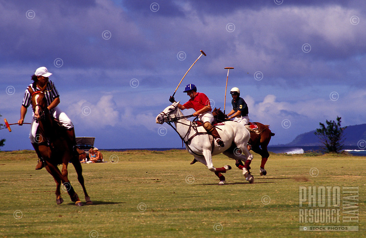 Men playing polo at the Waimanalo Polo Field