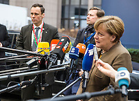 Pictured: German Chancellor Angela Merkel Thursday 18 February 2016<br /> Re: David Cameron looks set to secure European Union deal on Britain's reforms during a summit in Brussels, Belgium.