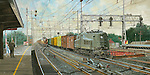 "A P5A electric freight locomotive pulls a manifest freight through the Pennsylvania Railroad station at Rahway NJ, running side by side with a GG1 on the New York to Washington high speed corridor mainline. Oil on canvas, 15"" x 30""."