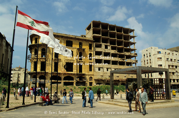 People visiting the Project of Reconstruction in Beirut, Lebanon.