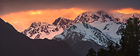 Mount Tasman of Southern Alps at sunrise, Westland Tai Poutini National Park, UNESCO World Heritage Area, West Coast, New Zealand, NZ