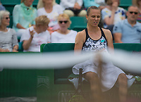 Magdalena Rybarikova reacts during  break in play<br /> <br /> Photographer Alex Dodd/CameraSport<br /> <br /> Tennis - WTA World Tour - Nature Valley Open Tennis Tournament - Day 3 - Wednesday 13th June 2018 - Nottingham Tennis Centre - Nottingham<br /> <br /> World Copyright &copy; 2018 CameraSport. All rights reserved. 43 Linden Ave. Countesthorpe. Leicester. England. LE8 5PG - Tel: +44 (0) 116 277 4147 - admin@camerasport.com - www.camerasport.com