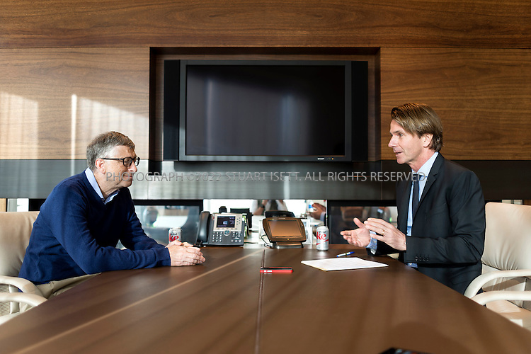 1/14/2014- Kirkland, WA, USA<br /> <br /> Bill Gates, being interview by BEla Anda of Bilt (right) in his private office in Kirkland, WA. Gate is a Technology Advisor of Microsoft and Co-Chair of the Bill &amp; Melinda Gates Foundation<br /> <br /> <br /> <br /> Photograph by Stuart Isett<br /> &copy;2014 Stuart Isett. All rights reserved.