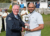 CS Challenge Cup Final, at Uddingston CC - victoriou Ivine Capt Abdul Ashraf accepts the CS Challenge Cup from Cricket Scotland President Bruce Dixon - picture by Donald MacLeod - 13.08.2017 - 07702 319 738 - clanmacleod@btinternet.com - www.donald-macleod.com