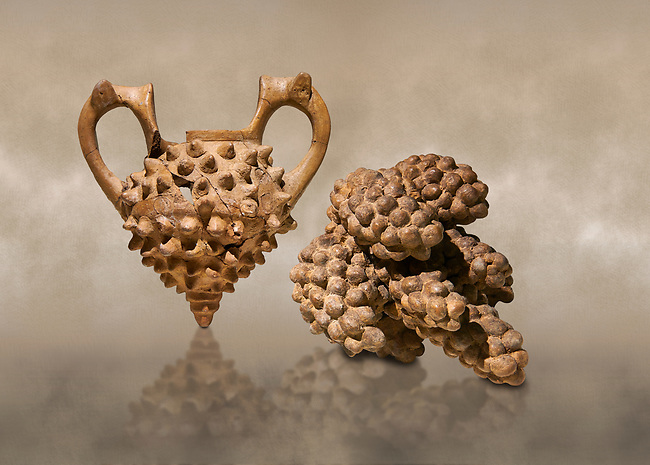 Hittite terra cotta two handled vessel and a ritual vessel in the shape of a bunch of grapes - 16th century BC - Hattusa ( Bogazkoy ) - Museum of Anatolian Civilisations, Ankara, Turkey