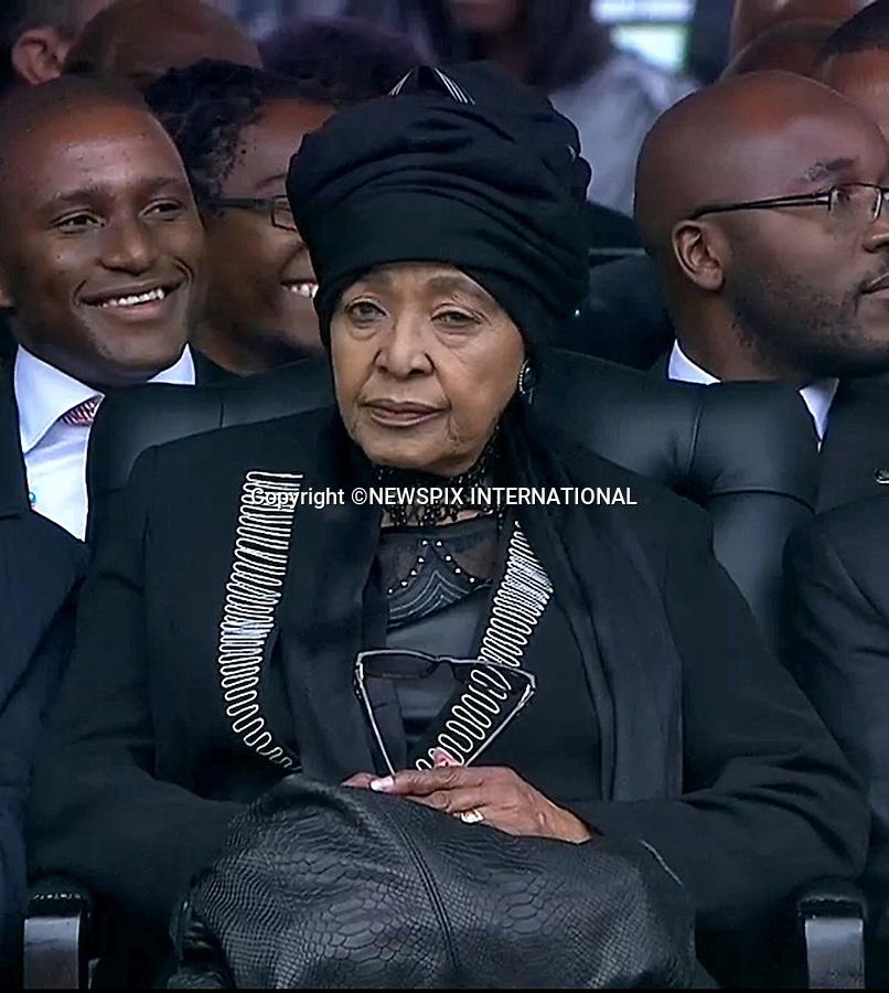 WINNIE MANDELA<br /> NELSON MANDELA MEMORIAL<br /> The nation mourns Nelson Rolihlahla Mandela Memorial Service, FNB Stadium, Johannesburg, South Africa<br /> Mandatory Credit Photo: &copy;NEWSPIX INTERNATIONAL<br /> <br /> **ALL FEES PAYABLE TO: &quot;NEWSPIX INTERNATIONAL&quot;**<br /> <br /> IMMEDIATE CONFIRMATION OF USAGE REQUIRED:<br /> Newspix International, 31 Chinnery Hill, Bishop's Stortford, ENGLAND CM23 3PS<br /> Tel:+441279 324672  ; Fax: +441279656877<br /> Mobile:  07775681153<br /> e-mail: info@newspixinternational.co.uk
